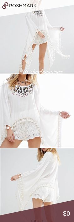 Just In/ Raga Flare Sleeve Top Sedona maxi flared sleeve top. Beautiful eggshell cotton muslin top with dramatics flared sleeves that are finished in tassels all the way around. Embroidered yolk. This top is Amazing! 💯 % viscose, hand wash. RAGA Tops