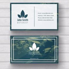 Elegant Professional Modern Botanist Green & White Business Card professional customize and print on demand Business Card Maker, Salon Business Cards, Unique Business Cards, Professional Business Card Design, Business Design, Corporate Design, Free Business Card Templates, Templates Free, Design Templates