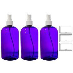 Purple Boston Round PET (BPA Free) with White Fine Mist Sprayer - 16 oz + Labels