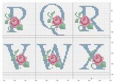 Ponto Cruz -Abecedário Flores (P,Q,R,V,W,X)