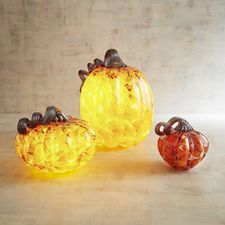 Orange & Brown Art Glass Pumpkins