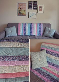 If I can quilt, ANYONE can do it. My first ever quilt using a YouTube video called How to quilt as you go!
