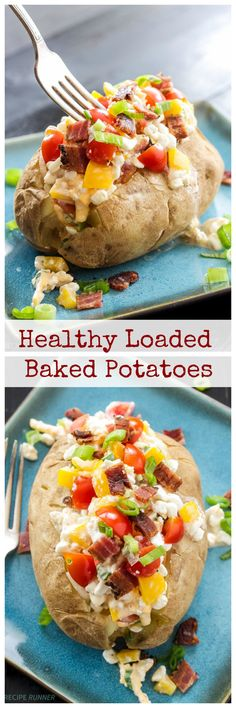 Healthy Loaded Baked Potatoes   Skip the butter and sour cream and top your potato with this delicious cottage cheese and vegetable topping!