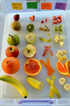 Handas surprise activity A fun sensory exploration with fruits. Whole fruit vs sliced fruit. We explored skins, seeds, taste and did the blindfold touch/taste test. An easy to create fruits sensory bin Senses Activities, Activities For Kids, Health Activities, Fruit And Veg, Fruits And Veggies, Fruit Box, Vegetables, Healthy Snacks, Healthy Eating