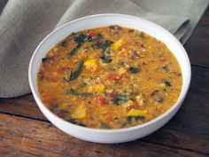 fresh vegetable soup with lentils and quinoa
