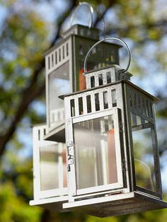 Outdoor Lounge: Add Ambiance   Hang lanterns from a nearby tree and add candles to light while you are enjoying the space.