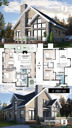 Mountain style cottage plan with 3 bedrooms, a fireplace and mezzanine