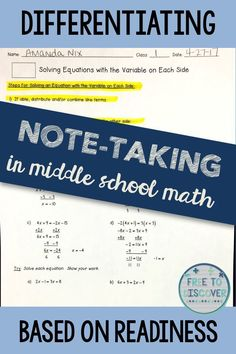 Differentiation IS for every classroom.  However, the degree to which you differentiate is up to you. Are you looking for specific ways to differentiate instruction in your middle school math classroom?  My blog series' on differentiation will give you concrete ideas and instructions that you can implement right away.  Check out this Differentiation 2.1 post on differentiating note-taking in middle school math.  By Free to Discover. #mathforadults