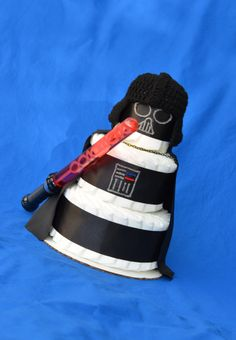 Father's Day Gift Idea! Darth Vader Baby Gift, Star Wars Baby Shower, Star Wars Diaper Cake, Geek Baby, Newborn Darth Vader Hat, Darth Vader Crochet Hat, Starwars by Julies2CuteCreations on Etsy