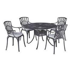 Home Styles Largo 5-Piece Charcoal Aluminum Patio Dining Set 5560-328C