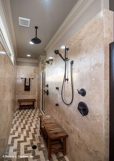 This walk-in master shower is the #ultimate in #luxury. The MacAllaster #838 - http://www.dongardner.com/house-plan/838/the-macallaster. #MasterBathroom
