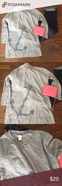 JCrew outlet summer anchor sweater Three quarter length sleeve anchor print sweater. Only worn a couple of times. Like new condition. J. Crew Sweaters