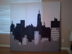 My Cool Wall art made out of a shower curtian