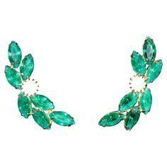 EARRINGS, green and clear rhinestone  clip-ons