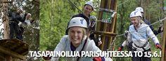 Seikkailupuisto Huipun tapahtumassa parit testaavat viestintä- ja tasapainoilutaitojaan ja lujittavat keskinäistä luottamusta.