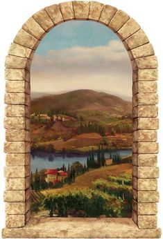 Provence Vineyard Stone Window Peel and Stick  - Wall Sticker Outlet