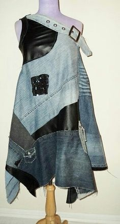 Distressed denim and leather.. #handmade #boho