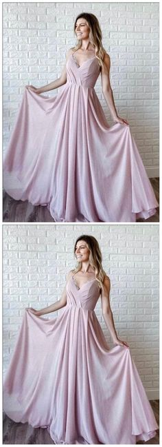 Simple A Line V Neck Pink Long Prom Dresses, V Neck Pink Formal Graduation Evening Dresses, Pink Bridesmaid Dresses Prom Dresses Long Pink, Classy Prom Dresses, Pink Bridesmaid Dresses, A Line Prom Dresses, Party Dresses, Pink Evening Dress, Formal Evening Dresses, Pink Dress, Dress Formal