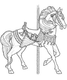 Free Coloring Page Carousel Animals Book Download Crafts For Kids Dover