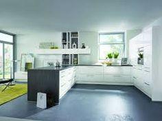 u-form küche Parkett aus Eichenholz und Schrankfronten in Creme ... | {Küchenideen u form 48}