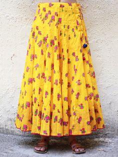 Yellow Cotton Kalidar Skirt Blouse Styles, Blouse Designs, Indian Skirt, Blue Lehenga, Cotton Skirt, Indian Designer Wear, African Fashion, Women's Fashion, Western Wear