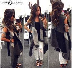 """Today Kayla's rocking Our New Fall Favorite for her #ootd Search: •Plaid Sweater Vest-which has a high-low theme and is super comfy and cozy! •White Distressed Skinny Jeans •Feather Arm Cuff  SHOP: www.aliciadimichele.com USE: code- """"FREESHIP""""  #aliciadimicheleboutique #falltrend #newarrivals"""