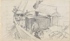 Sailboat Deck with Figures Artist: John Singer Sargent (American, Florence 1856–1925 London) Date: 1876
