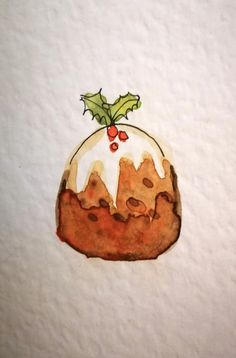 Original Hand Painted Watercolour Christmas Cards - The Pudding Collection - Set of 8 Christmas Cards Drawing, Painted Christmas Cards, Watercolor Christmas Cards, Christmas Tree Painting, Christmas Card Crafts, Christmas Art, Christmas Family Feud, Christmas Illustration, Making Ideas