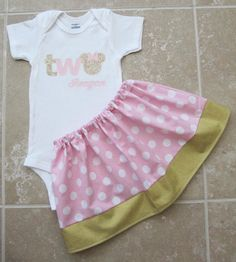 Pink Gold Minnie Mouse Second Birthday Outfit  by noellebydesign