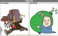 Charge do Lute em analogia ao pirata vivido no mundo da ficção e o pirata do mundo real encontrado na política brasileira (27/05/2017) #Charge #Lute #Política #Brasil #Pirata #PiratasDoCaribe #Joesley #JoesleyBatista #JBS #JackSparrow #HojeEmDia