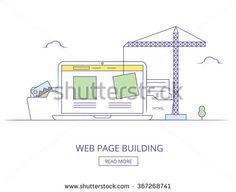 Web design process with monitor. Web Design illustration. Web Design thin line concept.  Graphic Web Design. Web design process. Web design, coding, programming process. Responsive Web Design