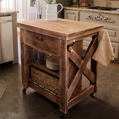 Like This Kitchen Look.especially Island. How To Make A Small Rolling Kitchen  Island   For Much Needed Extra Counter Space!