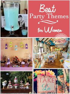 Lots of fabulous party ideas for women! I love them all: Stepford Wives, Vintage Luau, Glamping. Birthday Themes For Adults, Adult Party Themes, Adult Birthday Party, 30th Birthday Parties, Birthday Woman, Birthday Party Themes, 30th Birthday Party Ideas For Women, 28th Birthday, Women Birthday