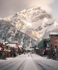 A magical winter wonderland ❄️ . - Well it's official! It's snowing in Banff. Luckily it's the most romantic time of the year. A magical winter wonderland ❄️ . Wonderful Places, Beautiful Places, Beautiful Scenery, Winter Is Here, Night Photos, Winter Wonder, Cool Landscapes, Travel Abroad, Amazing Destinations