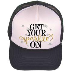 4752e3aa4d5e6 Black   White Trucker Hat - Get Your Sparkle On - Trucker Cap - Monogrammed  Trucker Hat - Baseball Cap - Personalized Ball Cap - Fashion by ...