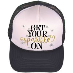 Black   White Trucker Hat - Get Your Sparkle On - Trucker Cap - Monogrammed  Trucker Hat - Baseball Cap - Personalized Ball Cap - Fashion by ... 56eb85c8c879