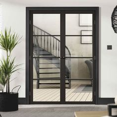 Soho 4 Pane Black Primed Door Pair - Clear Glass is a beautiful new addition to our range, the black finish really makes this door stand out. Double Sliding Doors, Sliding Wardrobe Doors, Double Doors Interior, Interior Glass Doors, Contemporary Interior Doors, Modern Sliding Doors, Sliding Glass Door, Closet Doors, Internal Folding Doors