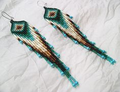 Maui Swan Designs Inspired Long Seed Bead & Turquoise Earrings