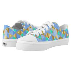 Blue and Gold Triangles Patterned Printed Low Top ZipZ Shoes For Women. #casualshoes