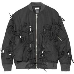 Facetasm Bow-embellished pinstriped wool-twill bomber jacket ($1,470) ❤ liked on Polyvore featuring outerwear, jackets, charcoal, wool bomber jacket, zipper jacket, zip jacket, bomber style jacket and tailored jacket