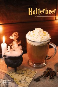 Butterbeer Serves 6-8 Homemade butterscotch sauce will be the most delicious here, but use store-bought if there's a brand you like. You can swap in ginger ale if you can't find a good (non-alcoholic) ginger beer, like Reed's or Gosling's. 6-8 tablespoons butterscotch sauce  3 cups apple cider 1 cup bourbon whiskey 2 cups ginger beer Whipped cream, for garnish