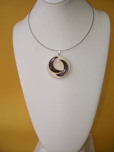 Contemporary Ceramic Pendant Cream Dark Brown Abstract Clay Pottery Modern Necklace on Etsy, R$45,58