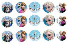 Fichier digital 15 étiquettes rondes° La reine des neiges frozen° bijoux,déco : Art numérique par victorianna