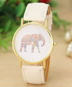White or turquoise elephant watch.  50% of proceeds go to helping elephants