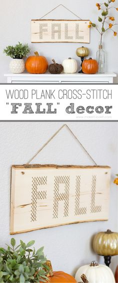 "Wood Plank Cross-Stitch ""FALL"" Decor --- Make It and Love It #MichaelsMakers"