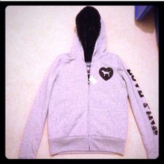 """Victoria's Secret gray fur lined hoodie S New with tags. Retail $98.50 plus tax. Size S. Faux fur lined with black sequin embellishment on arm and chest. ➡️Feel free to use the """"make an offer"""" feature below. Victoria's Secret Tops Sweatshirts & Hoodies"""