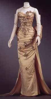 Evening Dress, Pierre Balmain (1914 - 1982) for the House of Balmain (1952 - present): ca. 1950's, French, silk satin, metallic thread, beads, sequins, rhinestones.