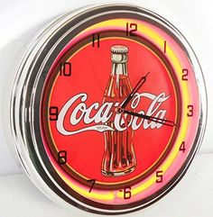 Coca Cola Bottle 15 Neon Lighted Wall Clock Red -- Read more  at the image link.