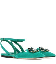 DOLCE & GABANNA - Bellucci embellished suede sandals - Dolce & Gabbana's Bellucci sandals come adorned with glistening crystals for a decidedly opulent finish. Crafted in Italy from supple suede, this chic pair are flat for comfort and feature a dainty strap that artfully wraps around the ankle. Wear yours with tailored trousers and evening dresses alike. - @www.mytheresa.com