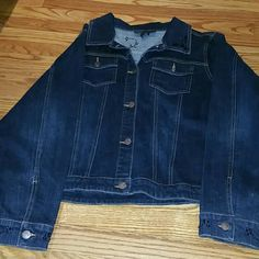 Blue Jean jacket and jean Great for holiday wear, or a nite out on the town jacket and pant have black jewel on top of jacket down both legs on the pants like new Lane Bryant Other